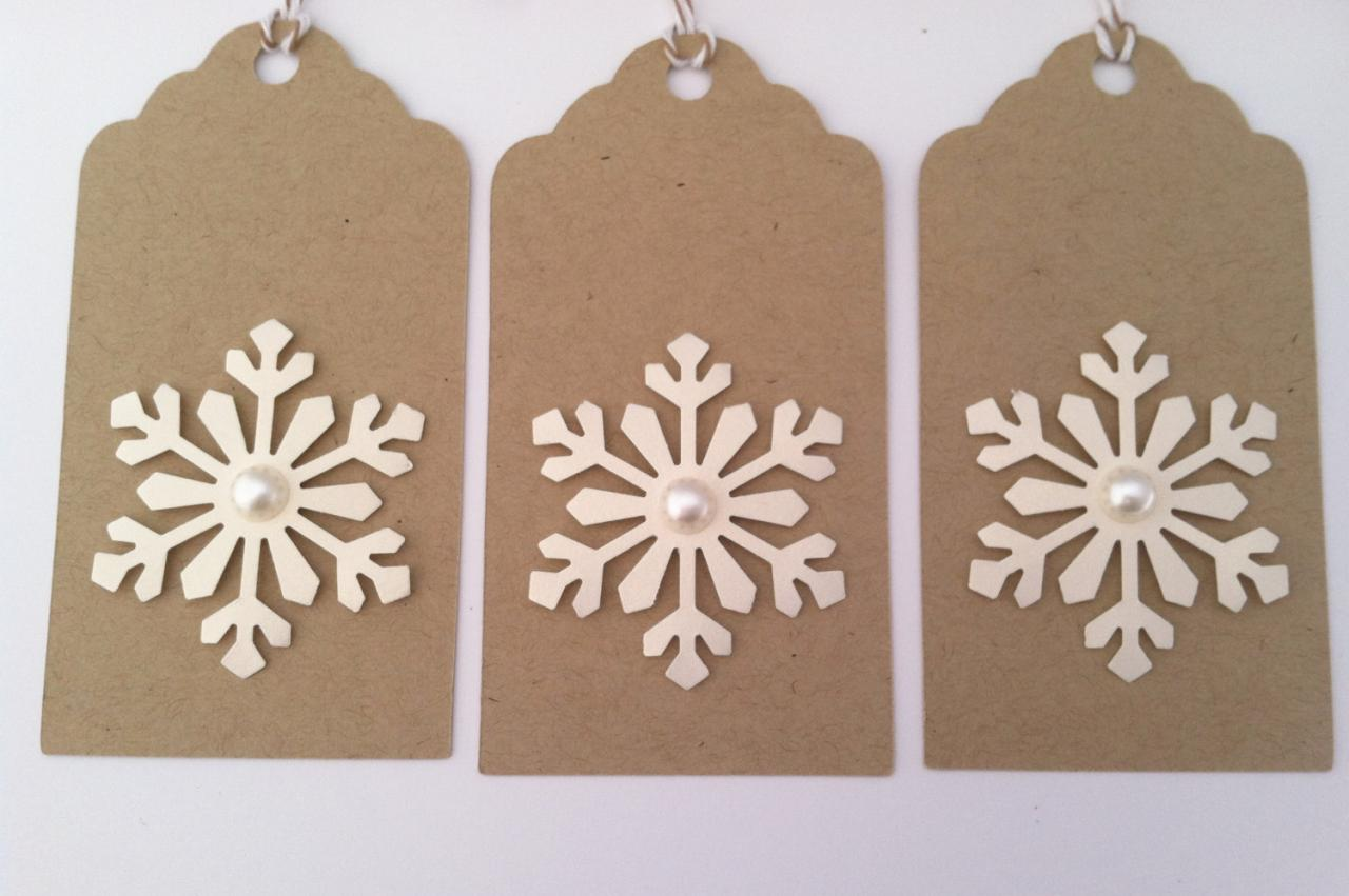 Christmas Gift Tags, Holiday Gift Tags, Kraft Snowflake Gift Tags, Set of 6