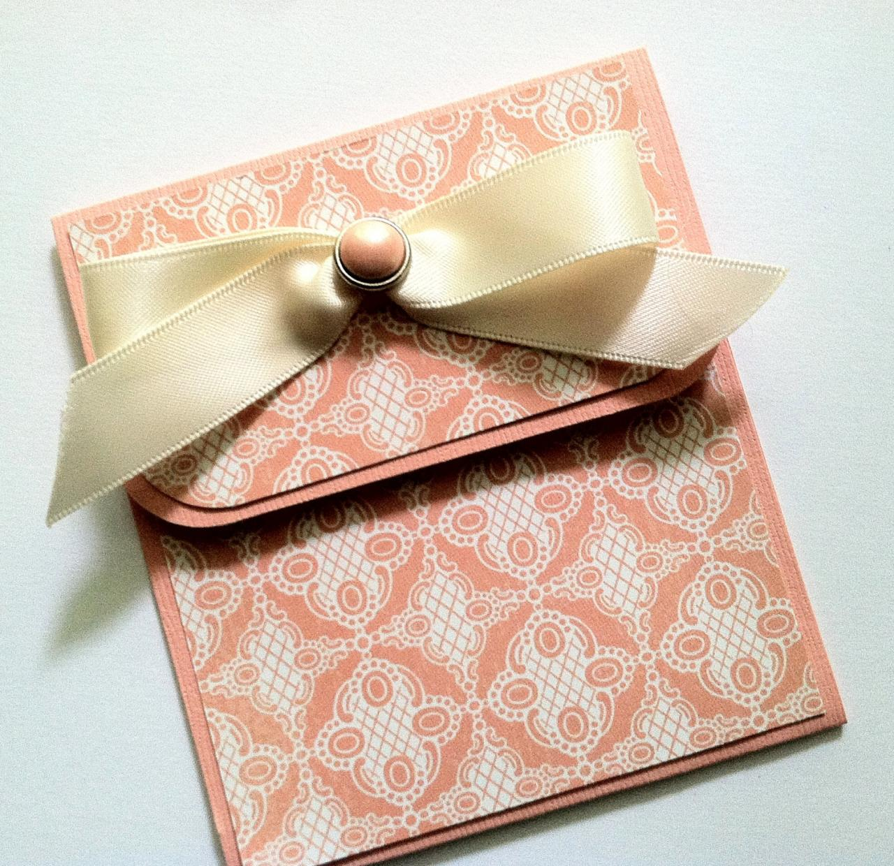 Elegant Gift Card Holder, Peach Gift Card Holder, Wedding, Anniversary, Birthday Gift Card Holder