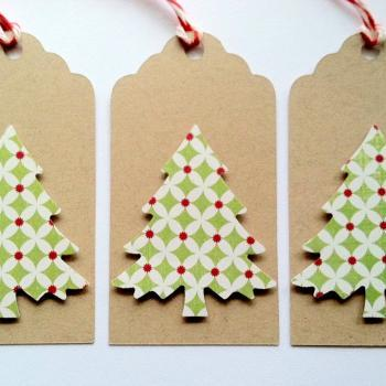 Christmas Holiday Gift Tags, Christmas Tree Gift Tags, Kraft Gift Tags, Set of 6