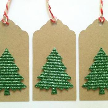 Christmas Tree Gift Tags, Green Glitter Tree Gift Tags, Kraft ChristmasGift Tags, Set of 6