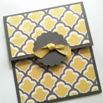 Gift Card Holder, Yellow and Gray Gift Card Holder, Birthday Gift Card Holder, Shower