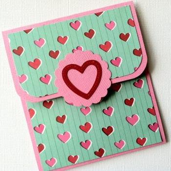 Gift Card Holder, Valentine's Day Gift Card Holder, Pink and Red Heart Gift Card Holder