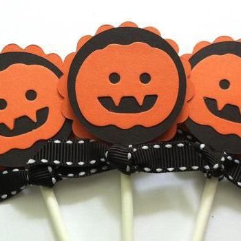 Halloween Cupcake Toppers, Halloween Party Decorations, Pumpkin, Jack O'Lantern, Set of 12
